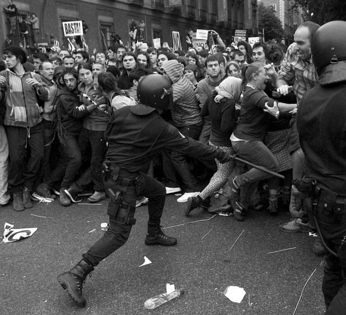 La policía carga contra los manifestantes el pasado 25 de septiembre en Madrid