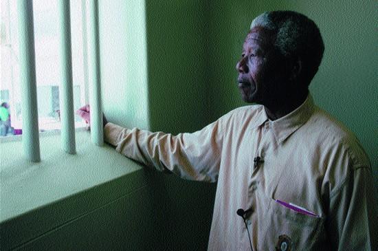 Mandela en la cárcel en la que pasó 17 de sus 28 años de reclusión | Foto RTVE