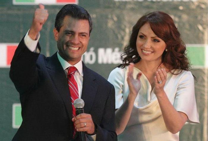 El presidente Enrique Peña Nieto con su esposa Angélica Rivera