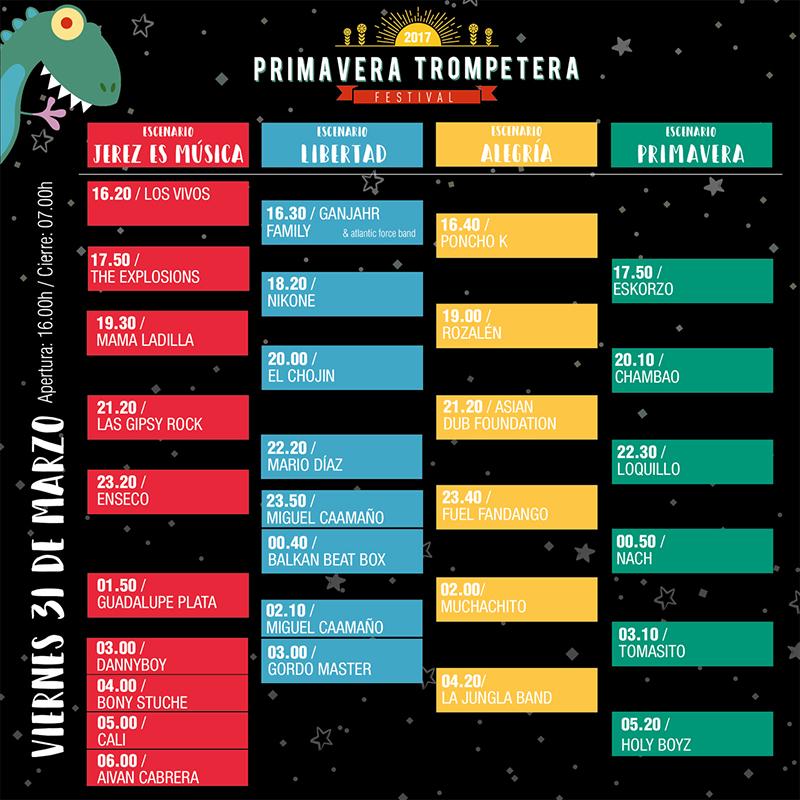 Cartel definitivo del Primavera Trompetera Festival 2017