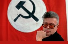 Moscow, Russia, 1996. National Bolshevik Party leader Eduard Limonov in his office at party headquarters.