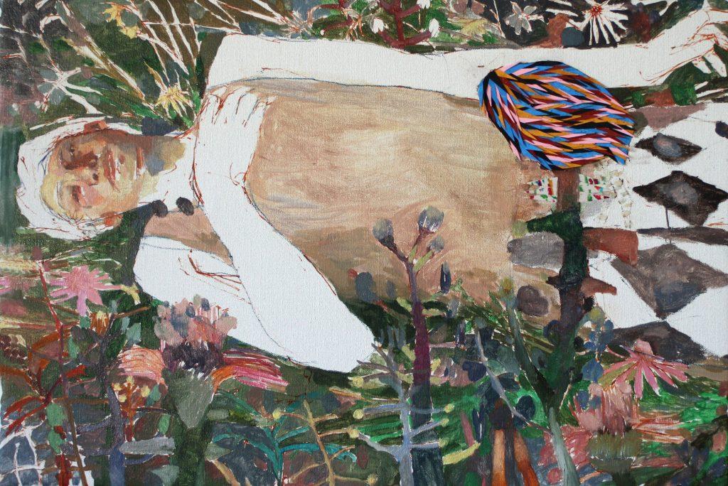 Alma de ciervo, 2019 Óleo y collage sobre lino 38 x 55 cm