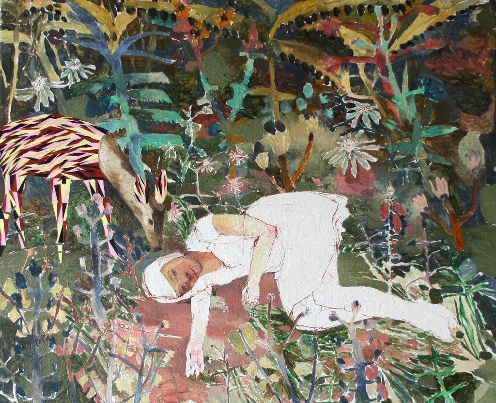 Jardín de Luces, 2019 Óleo y collage sobre lino 54 x 65 cm