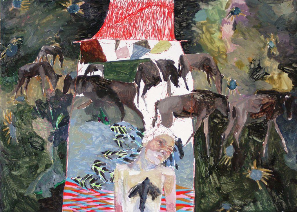 La casa, 2018 Óleo, lápiz y collage sobre madera 36 x 50 cm
