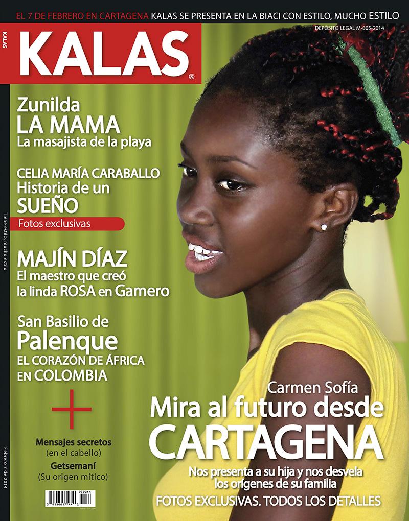 KALAS. Portada de la revista. Esta publicación es un fake de la revista CARAS editada en la mayoría de los países de Latinoamérica. En sus páginas está retratada la población afrodescendiente de Cartagena de Indias en Colombia.