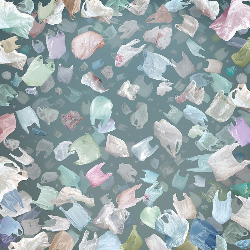 Tormenta de Bolsas de Plástico. Collage digital. 300 x 300 cm