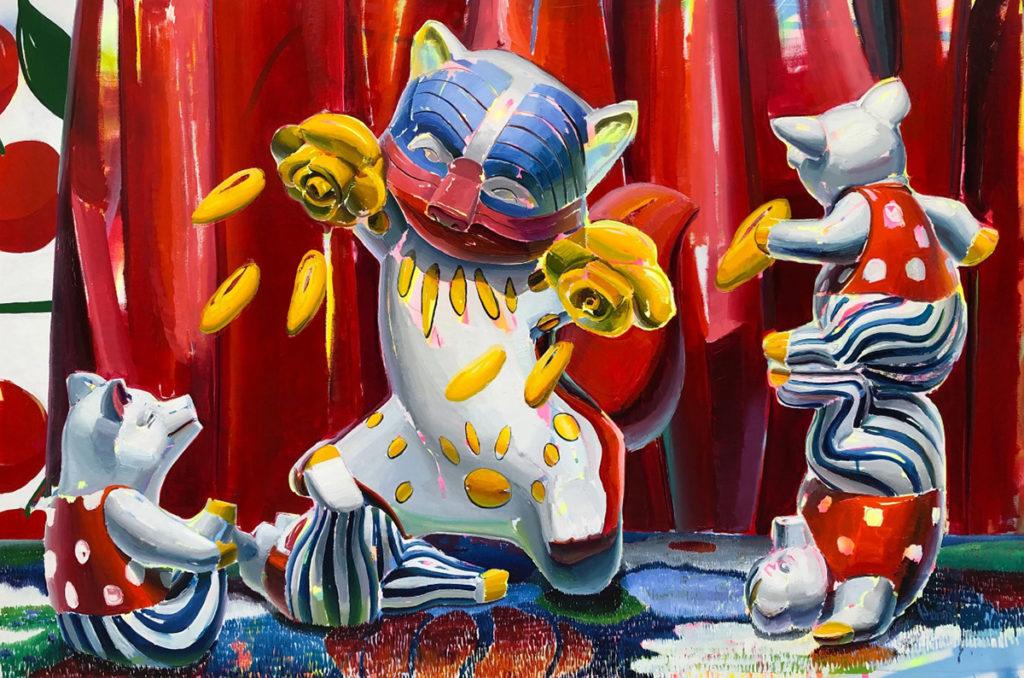 Tiempos salvajes 2019, óleo, esmalte y spray sobre lienzo 225 x 150 cm.