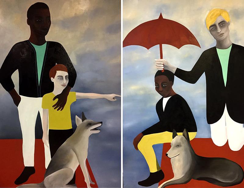 Chasse Croise (1) - (2), 2020. Óleo sobre lienzo 195 x 260 cm