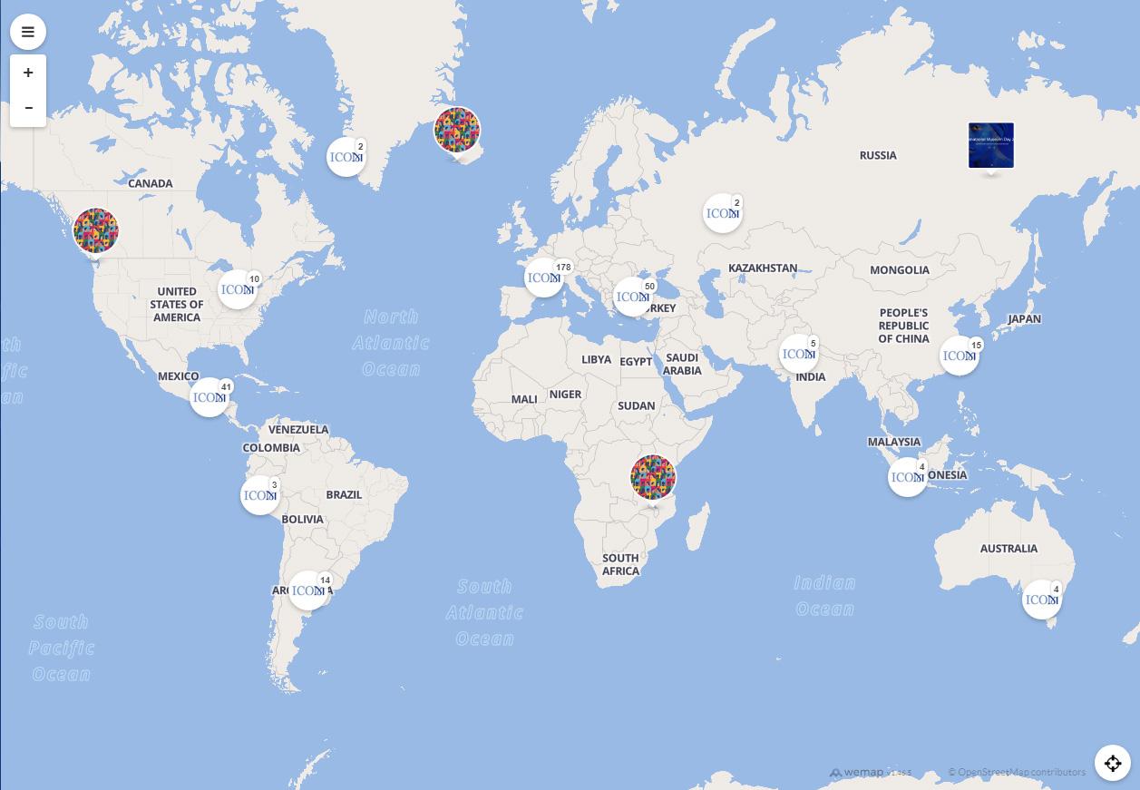 Mapa interactivo actividades Día Internacional de los Museos 2020
