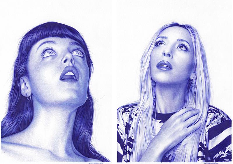 MaddalenaJennifer y MaddalenaRebeca, 2020., Rotulador de tinta de archivo pigmentada azul sobre papel, 50 x 30 cm