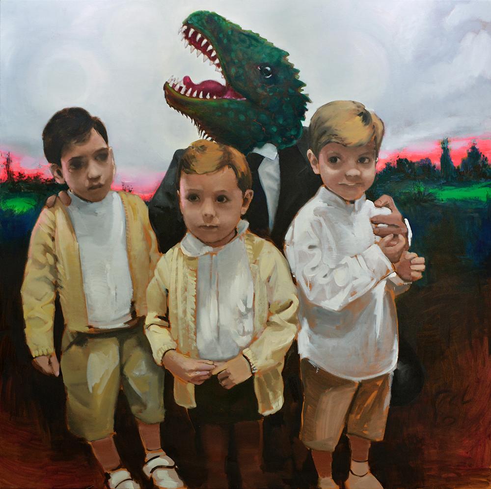 Abrazo paternal de dinosaurio, 2013. óleo sobre lienzo, 161 x 161 cm