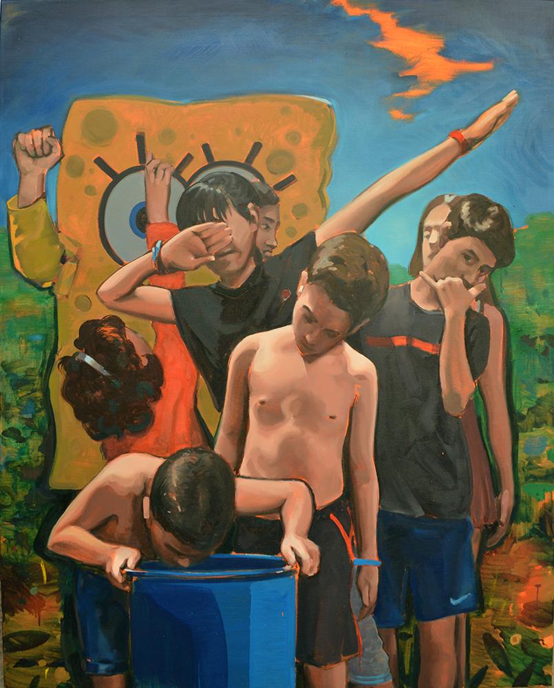 Un dub, un challenge y lo que hacía Ronaldiño con las manos, 2019. Óleo sobre lienzo, 146 x 114 cm