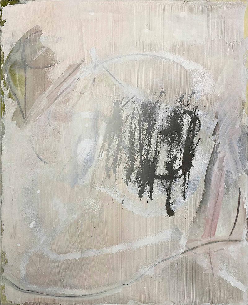 Sin título (Off white palimpsest I) 2020 Acrílico y óleo sobre lienzo, 150 x 120 cm