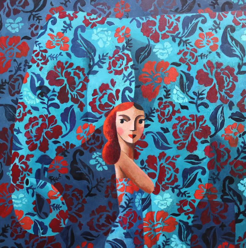 Nosotros azules, 2020 Óleo sobre lienzo 120 x 120 cm