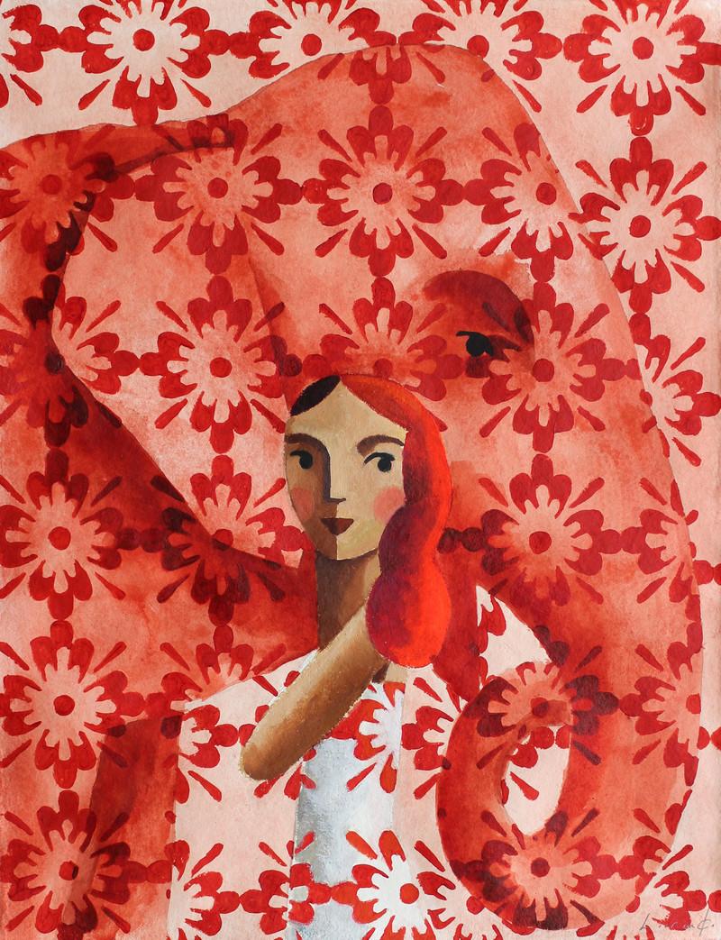 Red Elephant, 2020 Técnica mixta sobre papel 65 x 50 cm