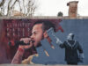 Graffitis por la libertad de Pablo Hasél en Parque Tres Chimeneas Barcelona