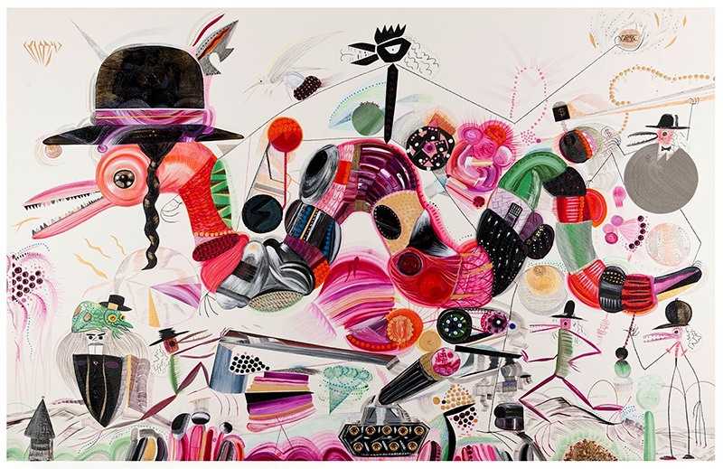 Pèpeh Whitesnake, 2008 óleo, lapiz y senok sobre papel, 107 x 157 cm